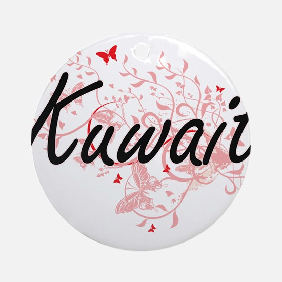 Kuwait Artistic Design with Butterf Round Ornament