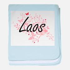 Laos Artistic Design with Butterflies baby blanket