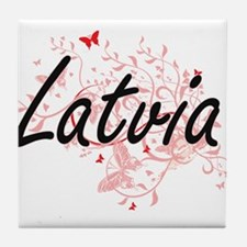 Latvia Artistic Design with Butterfli Tile Coaster