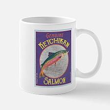 Ketchikan Alaska Salmon Label Art Mugs