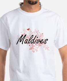 Maldives Artistic Design with Butterflies T-Shirt