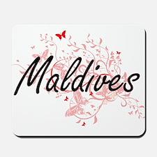 Maldives Artistic Design with Butterflie Mousepad