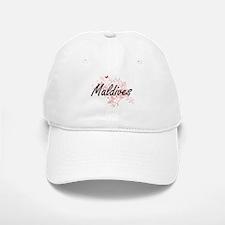 Maldives Artistic Design with Butterflies Baseball Baseball Cap