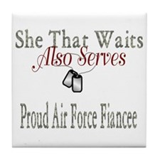 proud air force fiancee Tile Coaster