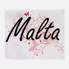 Malta Artistic Design with Butterfli Throw Blanket