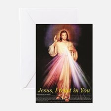 divine mercy jesus I trust in you black Greeting C