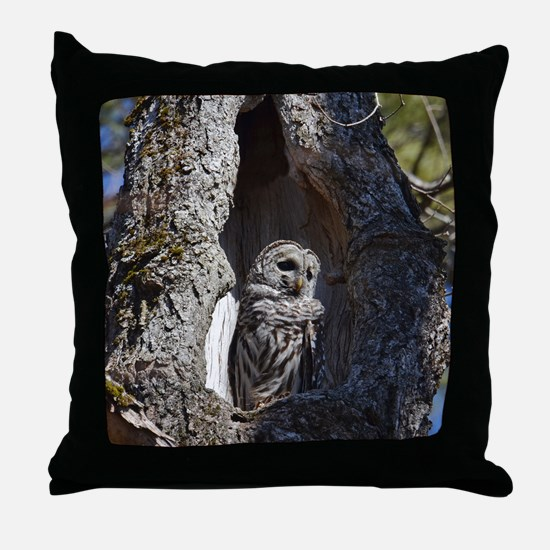 Owl in tree hollow Throw Pillow