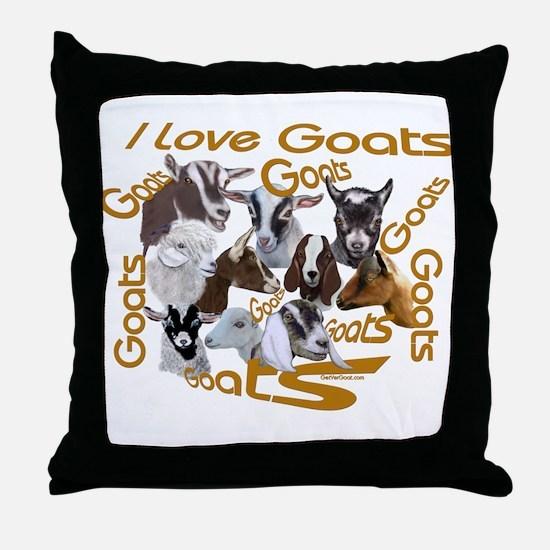 I love Goat Breeds Throw Pillow