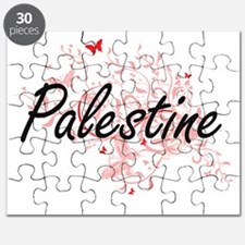 Palestine Artistic Design with Butterflies Puzzle