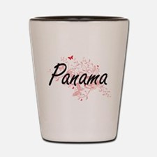 Panama Artistic Design with Butterflies Shot Glass
