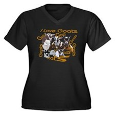 I love Goat Breeds Women's Plus Size V-Neck Dark T