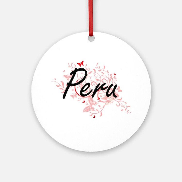Peru Artistic Design with Butterfli Round Ornament