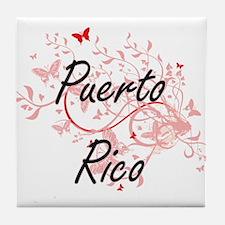 Puerto Rico Artistic Design with Butt Tile Coaster