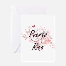 Puerto Rico Artistic Design with Bu Greeting Cards