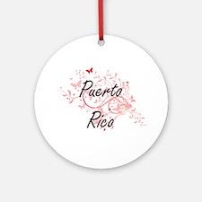 Puerto Rico Artistic Design with Bu Round Ornament