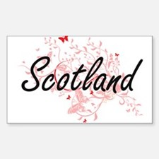 Scotland Artistic Design with Butterflies Decal
