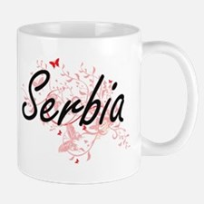 Serbia Artistic Design with Butterflies Mugs