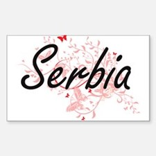 Serbia Artistic Design with Butterflies Decal