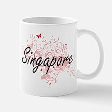 Singapore Artistic Design with Butterflies Mugs