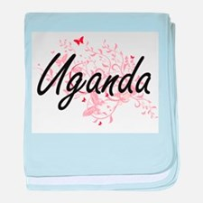 Uganda Artistic Design with Butterfli baby blanket
