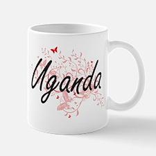 Uganda Artistic Design with Butterflies Mugs