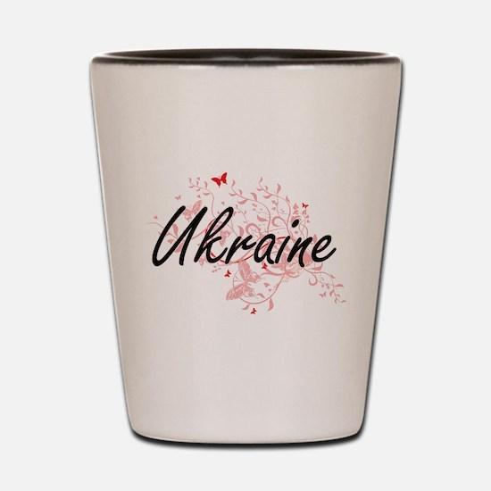 Ukraine Artistic Design with Butterflie Shot Glass