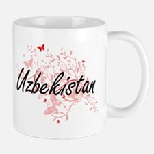 Uzbekistan Artistic Design with Butterflies Mugs