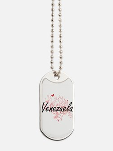 Venezuela Artistic Design with Butterflie Dog Tags