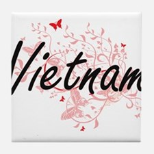 Vietnam Artistic Design with Butterfl Tile Coaster