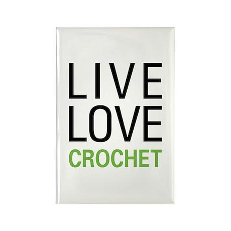 Live Love Crochet Rectangle Magnet