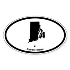 Rhode Island State Outline Oval Decal