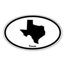 Texas State Outline Oval Decal