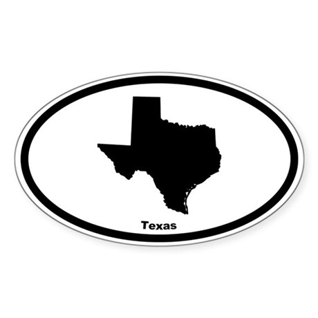 Texas State Outline Oval Sticker