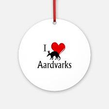 I Heart Aardvarks Round Ornament