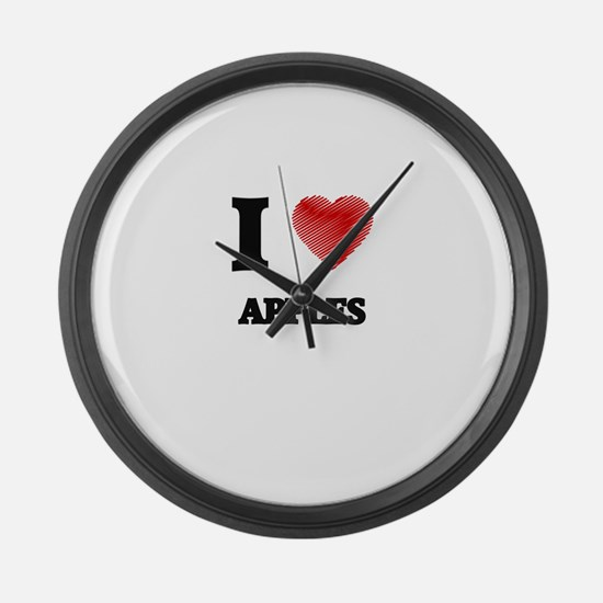 I Love Apples Large Wall Clock