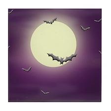Bats on the Moon Tile Coaster