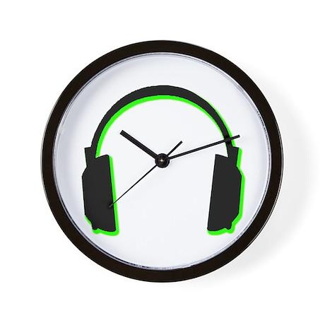 Green Shadow Headphones Wall Clock