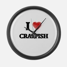 I Love Crayfish Large Wall Clock
