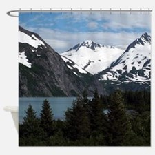 Portage Lake and mountains, Alaska, Shower Curtain