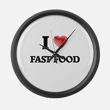 I Love Fast Food Large Wall Clock
