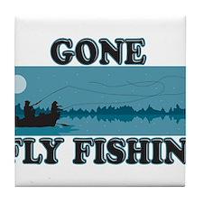 Gone Fly Fishing Tile Coaster