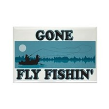 Gone Fly Fishing Rectangle Magnet