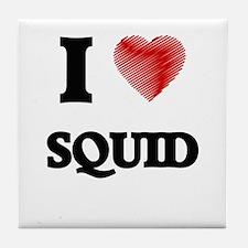 I Love Squid Tile Coaster