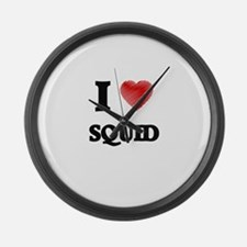 I Love Squid Large Wall Clock