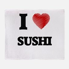 I Love Sushi Throw Blanket