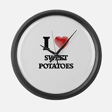 I Love Sweet Potatoes Large Wall Clock