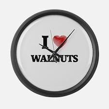 I Love Walnuts Large Wall Clock