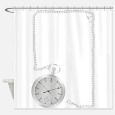 Silver Watch and Chain Border Shower Curtain