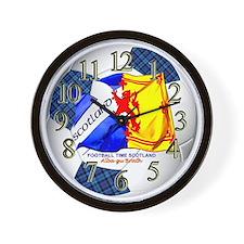 Scotland Tartan Football Time Wall Clock