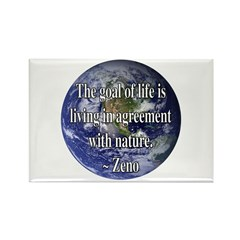 Living With Nature Quote Rectangle Magnet (100 pac